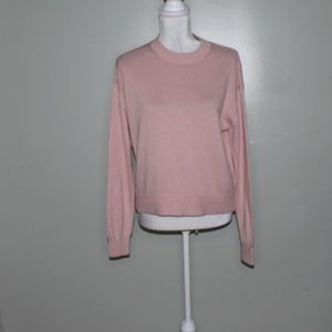 everlane women pale pink cotton sweater SZ S
